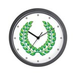 Green Laurel on White Wall Clock