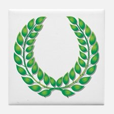 Green Laurel on White Tile Coaster