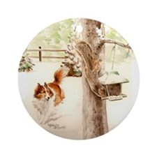 Sheltie Chasing Squirrel Ornament (Round)