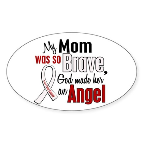 Angel 1 MOM Lung Cancer Oval Sticker