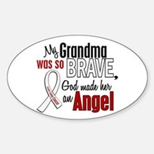 Angel 1 GRANDMA Lung Cancer Oval Decal