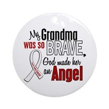 Angel 1 GRANDMA Lung Cancer Ornament (Round)