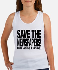Save The Newspapers! I'm going fishing Women's Tan
