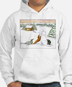 Longhaired Snow Dachshunds Hoodie