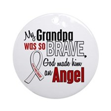 Angel 1 GRANDPA Lung Cancer Ornament (Round)
