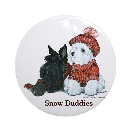Scottish and Westhighland Terriers Ornament (Round