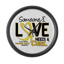 Needs A Cure 2 CHILD CANCER Large Wall Clock