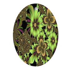 """Green Flowers"" Fractal Art Oval Ornament"