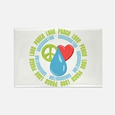 Peace Love Conservation Rectangle Magnet