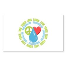 Peace Love Conservation Rectangle Decal
