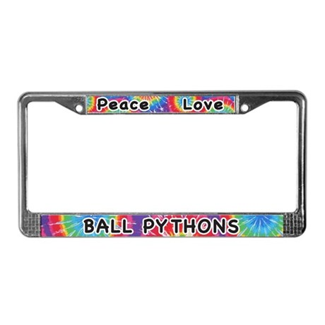 Peace Love Ball Pythons License Plate Frame