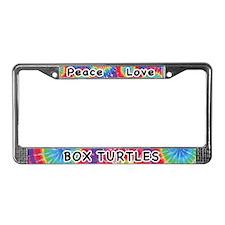 Peace Love Box Turtles License Plate Frame