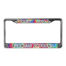 Peace Love Burmese Pythons License Plate Frame