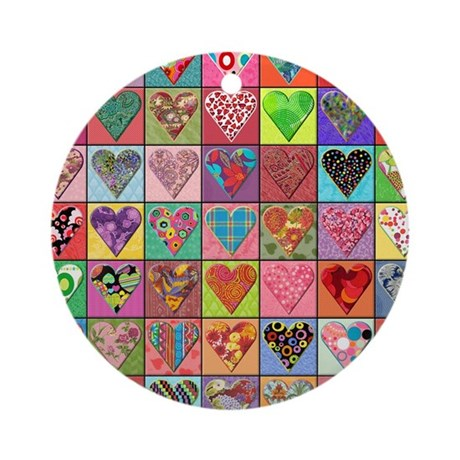 Heart Quilt Ornament (Round)