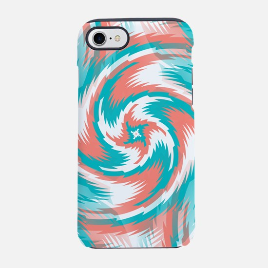 Coral Teal Swirl iPhone 7 Tough Case