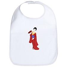 Beautiful Geisha in Red Kimono Bib