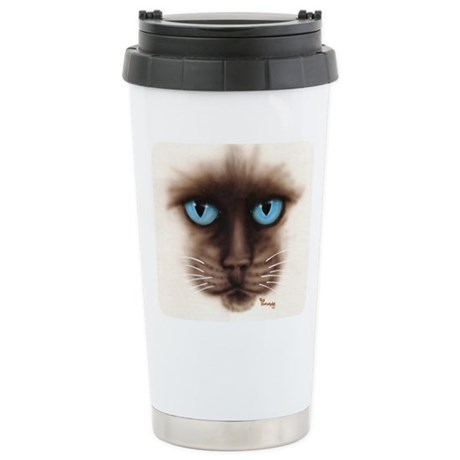 A Siamese Face Stainless Steel Travel Mug
