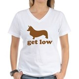 Corgi get low Womens V-Neck T-shirts