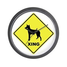 Ibizan Hound Crossing Wall Clock