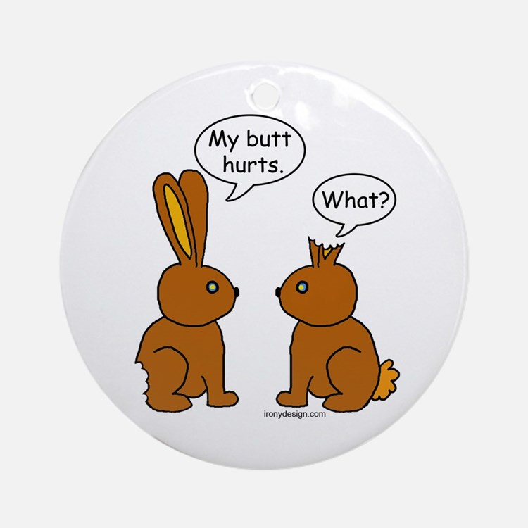 Funny Chocolate Bunnies Ornament (Round)