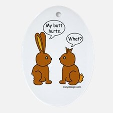 Funny Chocolate Bunnies Oval Ornament