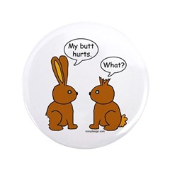 """Funny Chocolate Bunnies 3.5"""" Button"""