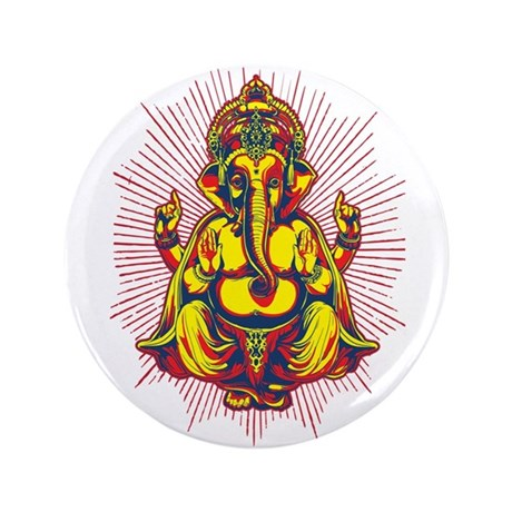 "Power of Ganesh 3.5"" Button"