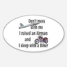 Raised Airman Sleep Biker Oval Decal