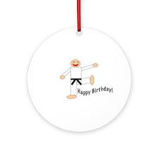 Black Belt Happy Birthday Ornament (Round)