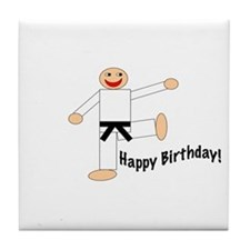 Black Belt Happy Birthday Tile Coaster