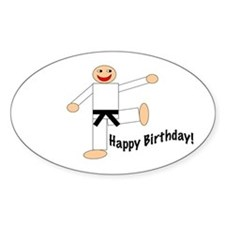 Black Belt Happy Birthday Oval Decal
