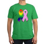 Rainbow & Pink Ribbons Men's Fitted T-Shirt (dark)