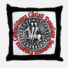 Knights Templar Seal (Latin) Throw Pillow
