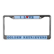 I Love Golden Retrievers License Plate Frame