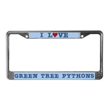 I Love Heart Green Tree Python License Plate Frame