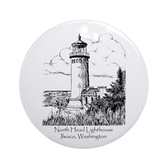 North Head Lighthouse Ornament (Round)