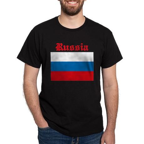 Russian Flag Black T-Shirt