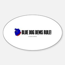 """""""Blue Dogs Rule"""" Oval Decal"""