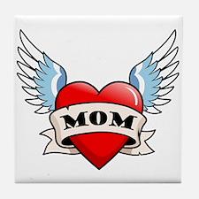 Mom Tattoo Winged Heart Tile Coaster