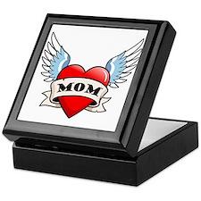 Mom Tattoo Winged Heart Keepsake Box