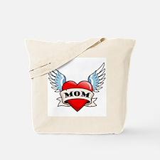 Mom Tattoo Winged Heart Tote Bag