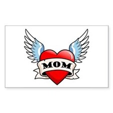 Mom Tattoo Winged Heart Rectangle Decal
