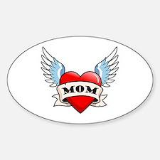 Mom Tattoo Winged Heart Oval Bumper Stickers