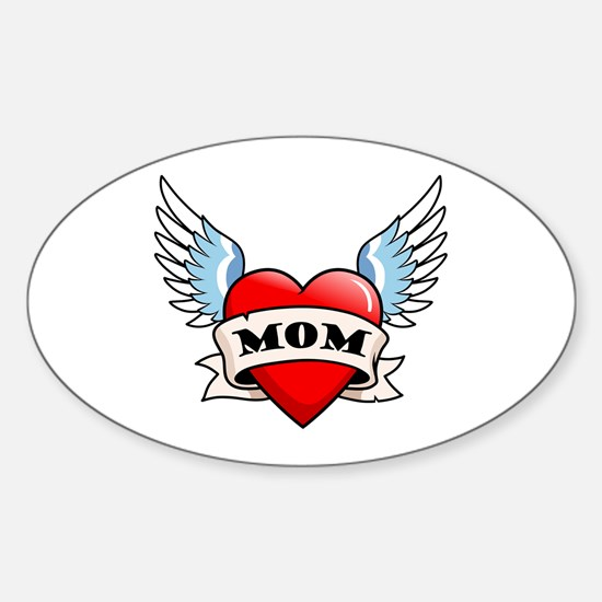 Mom Tattoo Winged Heart Oval Decal