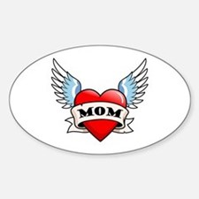 Mom Tattoo Winged Heart Oval Stickers