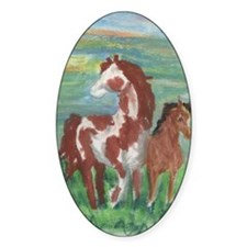 Horse and Colt gift Oval Sticker (10 pk)