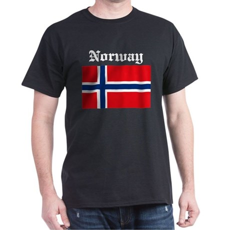 Norwegian Flag Black T-Shirt