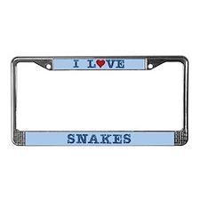 I Love Heart Snakes License Plate Frame