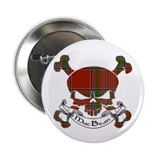 "MacBean Tartan Skull 2.25"" Button"