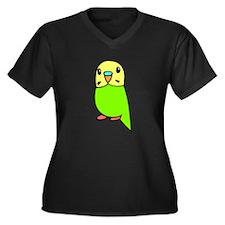Cute Green Budgie Women's Plus Size V-Neck Dark T-